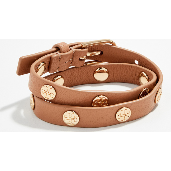 (取寄)トリーバーチ ダブル ラップ ロゴ スタッズ ブレスレット Tory Burch Double Wrap Logo Stud Bracelet AgedVachetta ToryGold