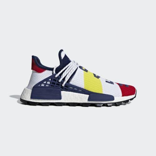 (取寄)アディダス オリジナルス メンズ ファレル ウィリアムズ BBC Hu NMD スニーカー adidas originals Men's Pharrell Williams BBC Hu NMD Shoes Cloud White / Scarlet / Blue