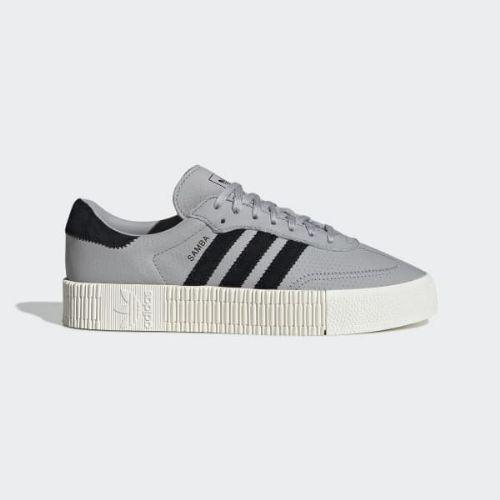 (取寄)アディダス オリジナルス レディース サンバローズ スニーカー adidas originals Women SAMBAROSE Shoes Grey / Core Black / Off White, 色めき 8cccf562