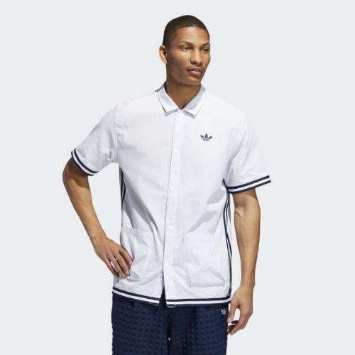 (取寄)アディダス オリジナルス メンズ シアサッカー シューティング シャツ adidas originals Men's Seersucker Shooting Shirt Ash Grey / White, ヤマトシ cf1838b6