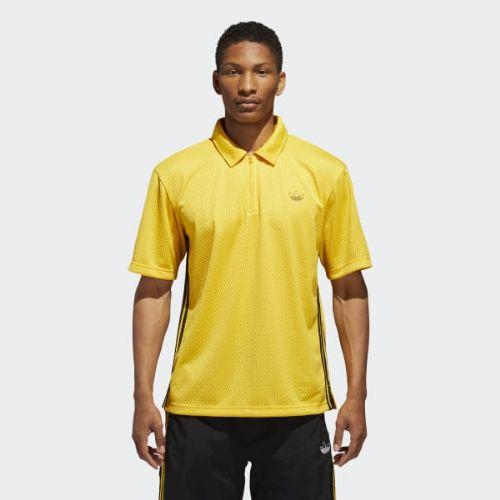 (取寄)アディダス オリジナルス メンズ バンク ショット ポロ Tシャツ adidas originals Men's Bank Shot Polo Tee Bold Gold / Black, アンナドアーズショップ 191237eb