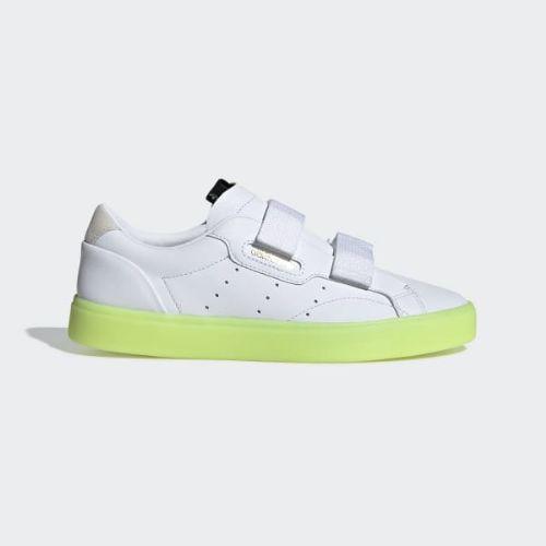 (取寄)アディダス オリジナルス レディース アディダス スリーク S スニーカー adidas originals Women adidas Sleek S Shoes Cloud White / Cloud White / Hi-Res Yellow