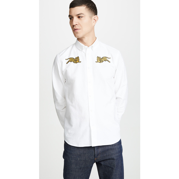 (取寄)ケンゾー ジャンピング タイガー クレスト カジュアル フィット シャツ KENZO Jumping Tiger Crest Casual Fit Shirt White, むぎ屋さんが作った こだわり食品 ab0dfdc9
