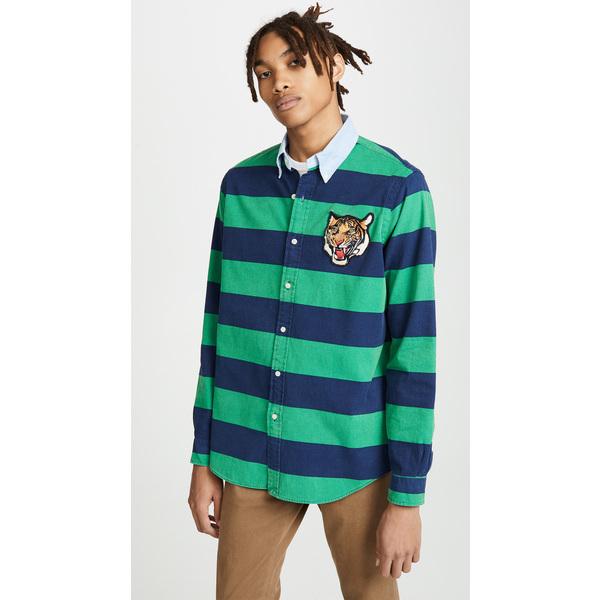 (取寄)ポロ ラルフローレン ストライプド タイガー シャツ Polo Ralph Lauren Striped Tiger Shirt Navy Green, 風の水琴工房 信楽焼き陶器専門店 40be76be