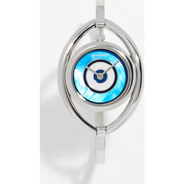 【クーポンで最大2000円OFF】(取寄)トリーバーチ イーブル アイ バングル ブレスレット ウォッチ 31mm Tory Burch Evil Eye Bangle Bracelet Watch, 31mm Silver