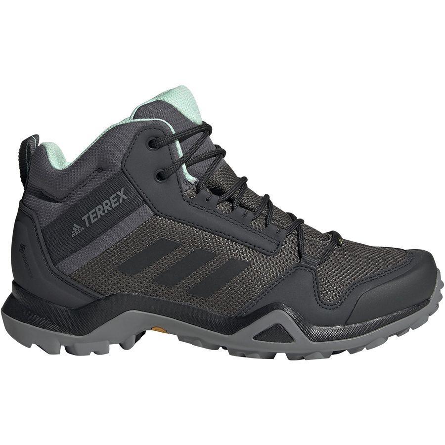 【マラソン ポイント10倍】(取寄)アディダス レディース アウトドア テレックス AX3ミッド Gtx ハイキング ブーツ Adidas Women Outdoor Terrex AX3 Mid GTX Hiking Boot Grey Five/Black/Clear Mint