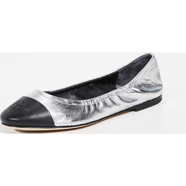 (取寄)トリーバーチ レディース エクスクルーシブ キャップ トゥ バレエ フラッツ Tory Burch Women's Exclusive Cap Toe Ballet Flats Silver Black