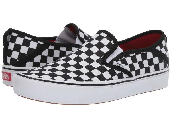 (取寄)Vans(バンズ) スニーカー コンフィクッシュ スリップ ユニセックス メンズ レディース Vans Unisex ComfyCush Slip (Checkerboard) Black/True White