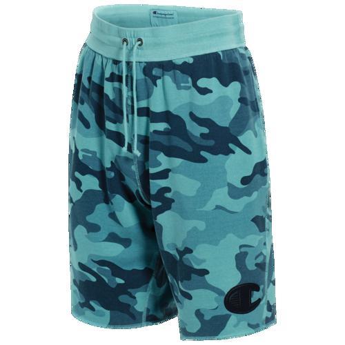 (取寄)チャンピオン メンズ ビンテージ ダイ フリース カモ ショーツ Champion Men's Vintage Dye Fleece Camo Shorts Cornflower Teal Camo