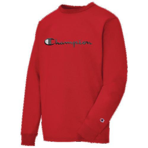 (取寄)チャンピオン メンズ ヘリテージ スクリプト エンブブロイダリー ロングスリーブ Tシャツ Champion Men's Heritage Script Embroidery L/S T-Shirt Team Red Scarlet