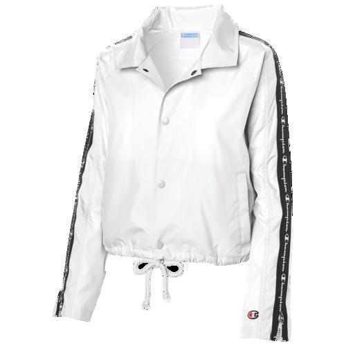 (取寄)チャンピオン レディース テープド クロップド コーチ ジャケット Champion Women's Taped Cropped Coaches Jacket White