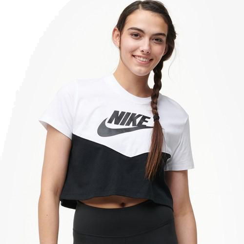(取寄)ナイキ レディース ヘリテージ クロップ Tシャツ Nike Women's Heritage Crop T-Shirt Black White