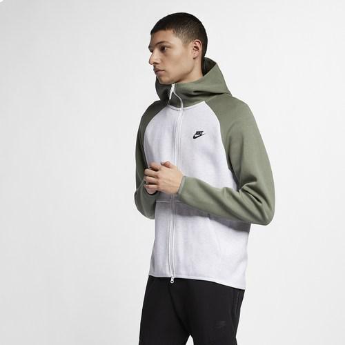 【エントリーでポイント10倍】(取寄)ナイキ メンズ パーカー テック フリース フルジップ フーディ Nike Men's Tech Fleece Full-Zip Hoodie Birch Heather Vintage Lichen Black
