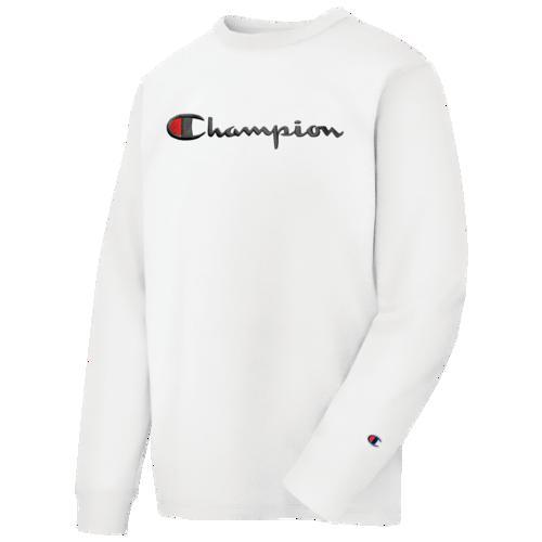 (取寄)チャンピオン メンズ ヘリテージ スクリプト エンブブロイダリー ロングスリーブ Tシャツ Champion Men's Heritage Script Embroidery L/S T-Shirt White