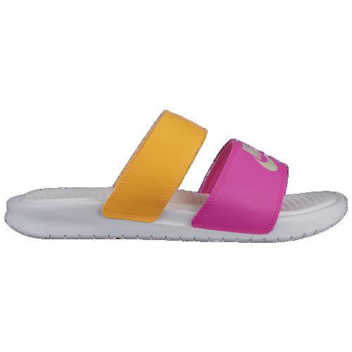 (取寄)ナイキ レディース ベナッシ デュオ ウルトラ スライド Nike Men's Benassi Duo Ultra Slide White Metallic Summit White Laser Orange