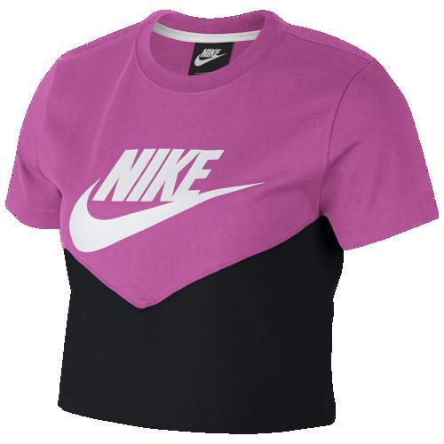 (取寄)ナイキ レディース ヘリテージ クロップ Tシャツ Nike Men's Heritage Crop T-Shirt Black Active Fuchsia White