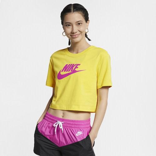 (取寄)ナイキ レディース エッセンシャル クロップ Tシャツ Nike Men's Essential Crop T-Shirt Yellow Pulse Active Fuchsia