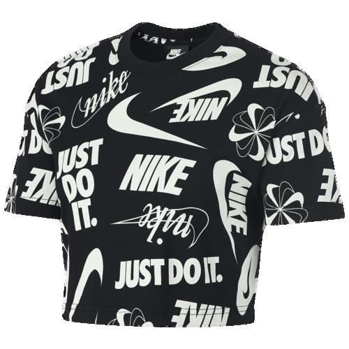 (取寄)ナイキ レディース エッセンシャル ワイルド クロップ ショート スリーブ トップ Nike Men's Essential Wild Crop Short Sleeve Top Black Summit White