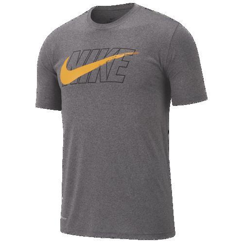 (取寄)ナイキ メンズ レジェンド スウッシュ Tシャツ Nike Men's Legend Swoosh T-Shirt Charcoal Heather Black Orange