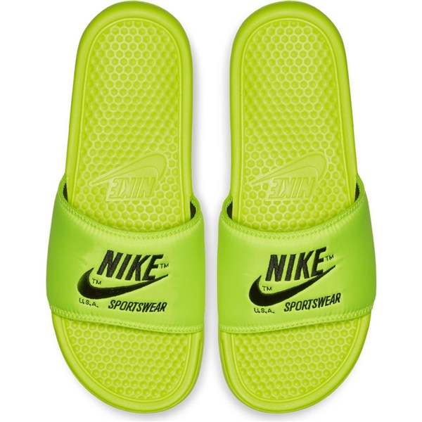 NIKE ナイキ サンダル ベナッシ JDI プリント ネオンイエロー Nike Benassi JDI Text SE Volt Black