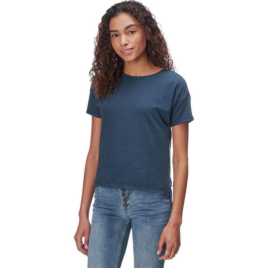 (取寄)ノースフェイス レディース エメリン ショートスリーブ トップ The North Face Women Emerine Short-Sleeve Top Blue Wing Teal Desert Stripe