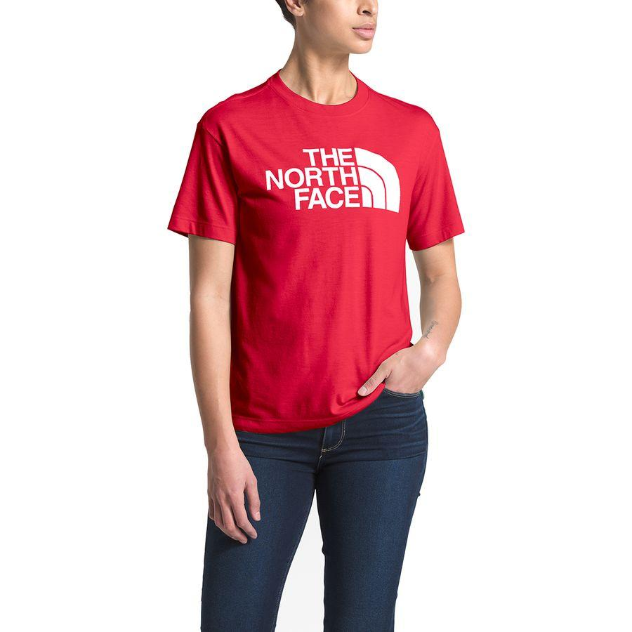(取寄)ノースフェイス レディース リラックス ハーフ ドーム Tri-Blend Tシャツ The North Face Women Relaxed Half Dome Tri-Blend T-Shirt Tnf Red Heather/Tnf White