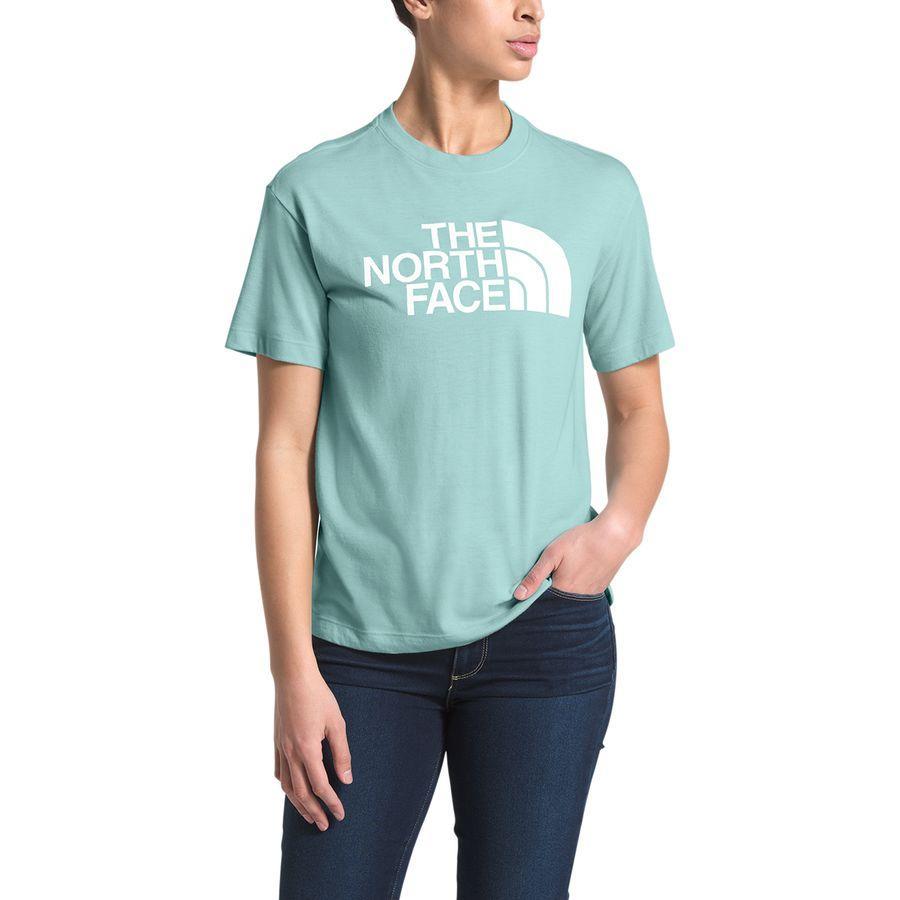 (取寄)ノースフェイス レディース リラックス ハーフ ドーム Tri-Blend Tシャツ The North Face Women Relaxed Half Dome Tri-Blend T-Shirt Windmill Blue Heather/Tnf White