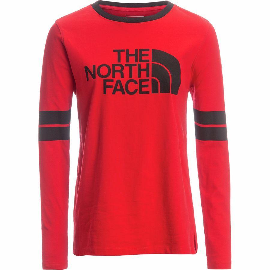 (取寄)ノースフェイス レディース カレージエート ロングスリーブ ロングスリーブ Tシャツ The North Face Women Collegiate Long-Sleeve T-Shirt Tnf Red/Tnf Black