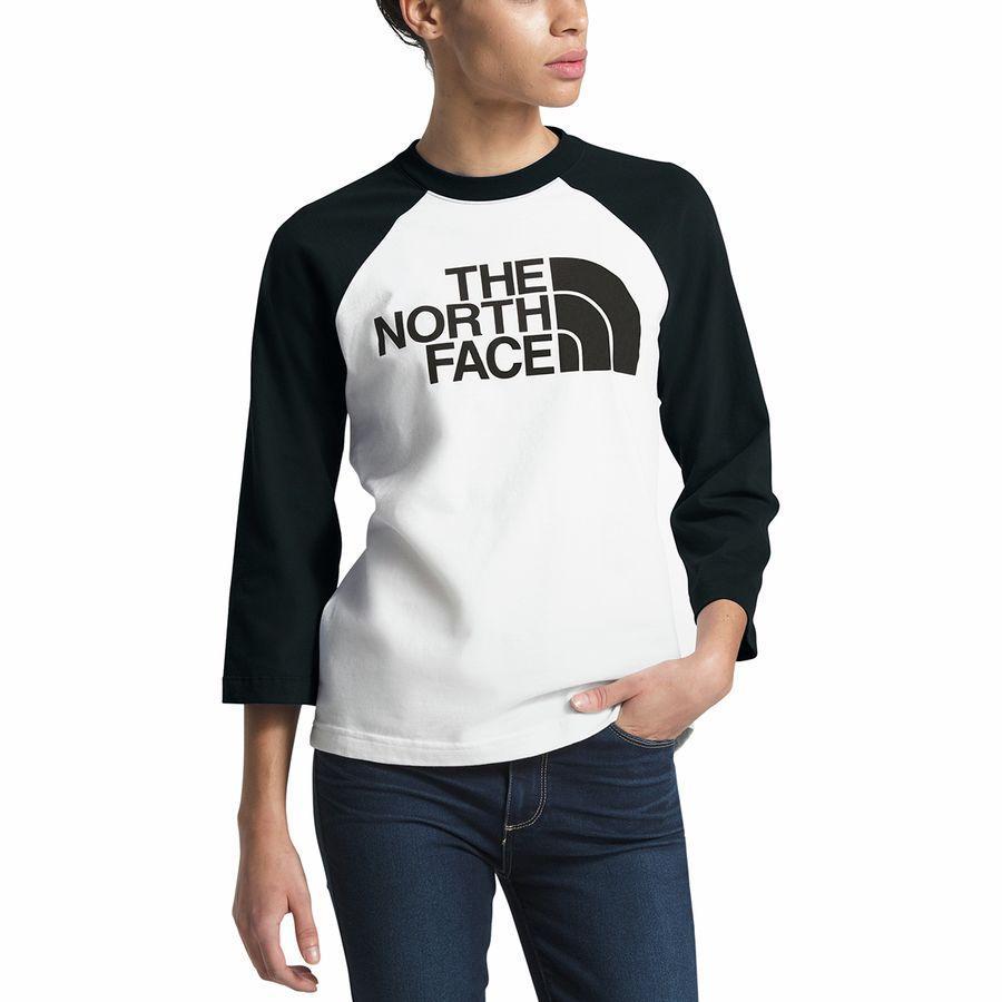(取寄)ノースフェイス レディース ハーフ ドーム ベースボール Tシャツ The North Face Women Half Dome Baseball T-Shirt Tnf White/Tnf Black