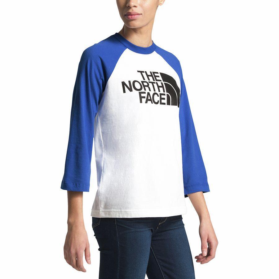 (取寄)ノースフェイス レディース ハーフ ドーム ベースボール Tシャツ The North Face Women Half Dome Baseball T-Shirt Tnf White/Tnf Blue