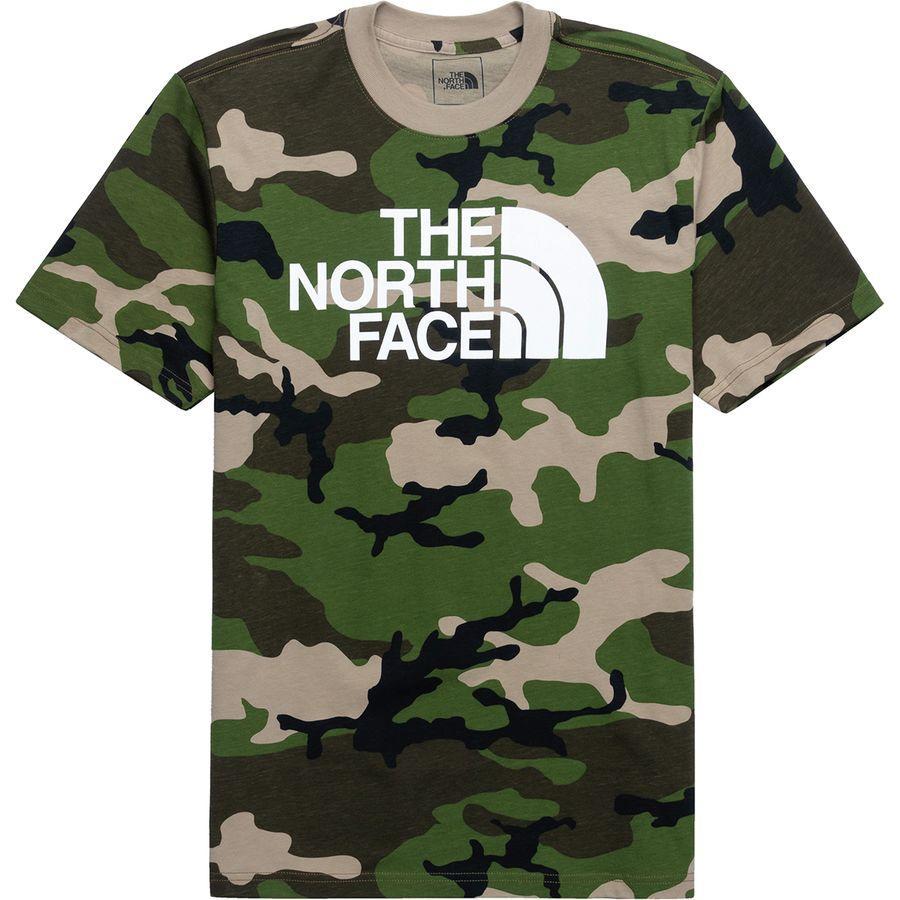 (取寄)ノースフェイス メンズ カモ ハーフ ドーム Tシャツ The North Face Men's Camo Half Dome T-Shirt Dune Beige Jeffery Camo