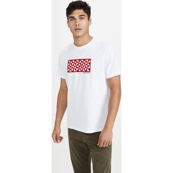 (取寄)カルバンクライン ジーンズ キルテッド カレイドスコープ ティー Calvin Klein Jeans Quilted Kaleidoscope Tee BrilliantWhite