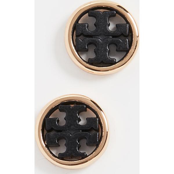 (取寄)トリーバーチ ミラー サークル スタッズ ピアス Tory Burch Miller Circle Stud Earrings ToryGold Black