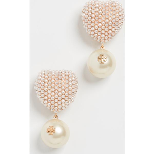 (取寄)トリーバーチ パール ハート チャーム ピアス Tory Burch Pearl Heart Charm Earrings RolledBrass Pearl