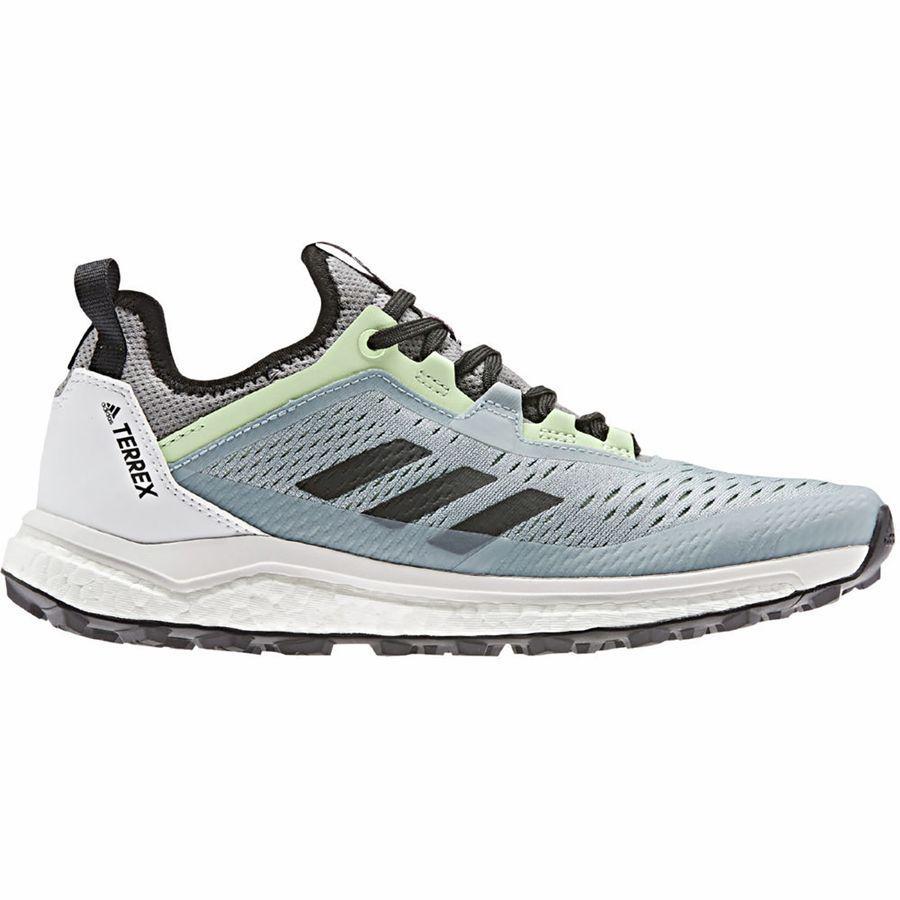 【マラソン ポイント10倍】(取寄)アディダス レディース アウトドア テレックス アグラヴィック フロー トレイル ランニングシューズ Adidas Women Outdoor Terrex Agravic Flow Trail Running Shoe Ash Grey/Black/Glow Green