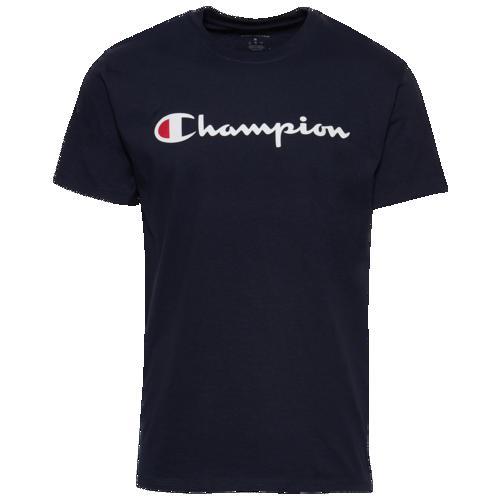 (取寄)チャンピオン メンズ コットン スクリプト ロゴ Tシャツ Champion Men's Cotton Script Logo T-Shirt Navy