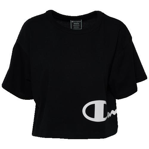 (取寄)チャンピオン レディース ヘリテージ クロップド ラップ アラウンド Tシャツ Champion Women's Heritage Cropped Wrap Around T-Shirt Black