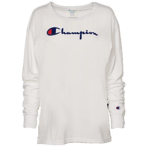 (取寄)チャンピオン レディース ザ オリジナル ダイレクト フロック スクリプト Tシャツ Champion Women's The Orginal Direct Flock Script T-Shirt White