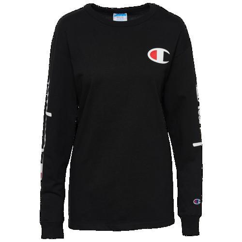 (取寄)チャンピオン レディース ザ オリジナル ロング スリーブ Tシャツ Champion Women's The Orginal Long Sleeve T-Shirt Black