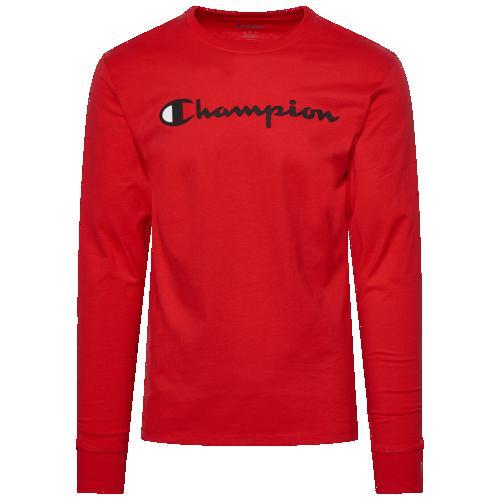 (取寄)チャンピオン メンズ クラシック コットン ロングスリーブ Tシャツ Champion Men's Classic Cotton L/S T-Shirt Scarlet