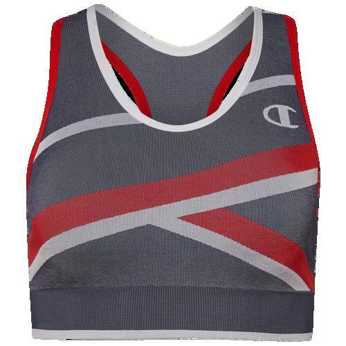 (取寄)チャンピオン レディース インフィニティ ストライプ レーサーバック ブラ Champion Women's Infinity Stripe Racerback Bra Athletic Navy White Scarlet