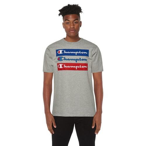 (取寄)チャンピオン メンズ グラフィック ショート スリーブ Tシャツ Champion Men's Graphic Short Sleeve T-Shirt Grey Red