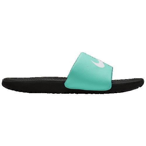 (取寄)ナイキ レディース カワ スライド Nike Women's Kawa Slide Black White Hyper Jade