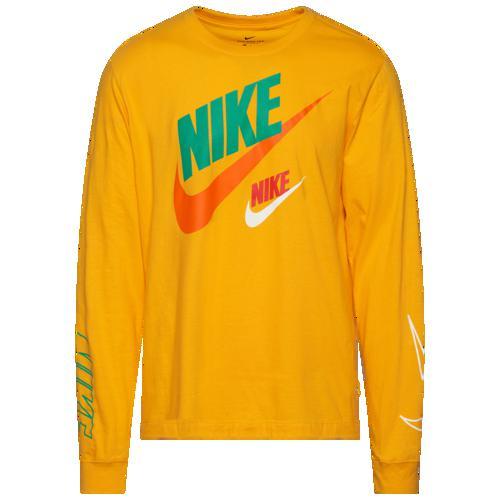 (取寄)ナイキ メンズ グラフィック ロング スリーブ Tシャツ Nike Men's Graphic Long Sleeve T-Shirt University Gold Orange Green