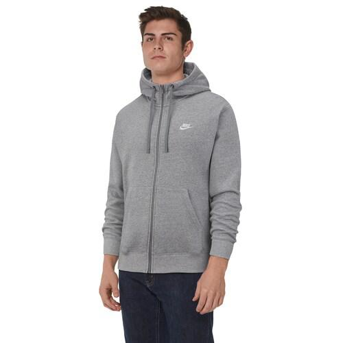 (取寄)ナイキ メンズ パーカー クラブ フルジップ フーディ Nike Men's Club Full-Zip Hoodie Dark Grey Heather Dark Steel Grey White