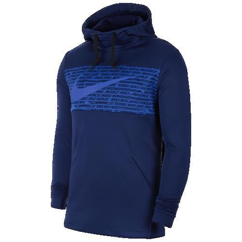 (取寄)ナイキ メンズ パーカー サーマ フリース グラフィック スウッシュ ブロック フーディ Nike Men's Therma Fleece Graphic Swoosh Block Hoodie Blue Void Hyper Royal