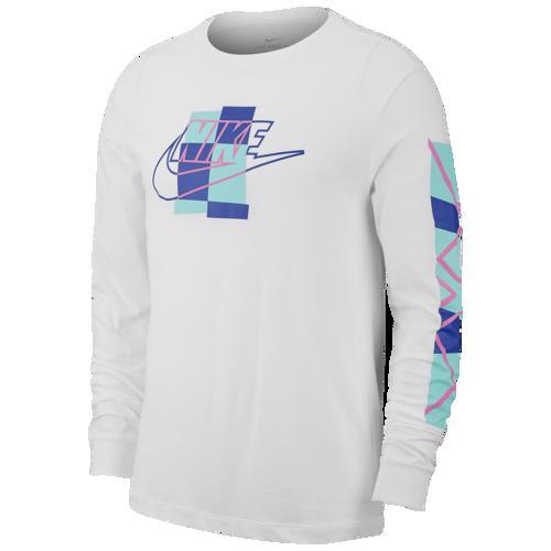 (取寄)ナイキ メンズ フューチュラ ブロック ロング スリーブ Tシャツ Nike Men's Futura Blocked Long Sleeve T-Shirt White