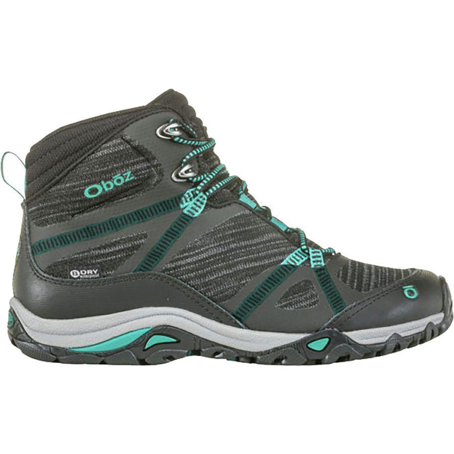 【マラソン ポイント10倍】(取寄)オボズ レディース リンクス ミッド B-Dry ハイキング ブーツ Oboz Women Lynx Mid B-Dry Hiking Boot Black/Aqua