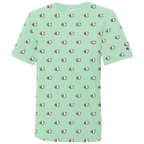 (取寄)チャンピオン メンズ スクリブル ロゴ AOP ショートスリーブ Tシャツ Champion Men's Scribble Logo AOP S/S T-Shirt Waterfall Green