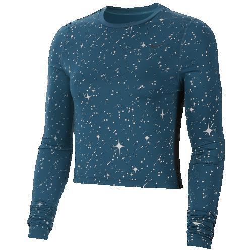 (取寄)ナイキ レディース プロ スターリー ナイト メタリック ロングスリーブ Tシャツ Nike Women's Pro Starry Night Metallic L/S T-Shirt Midnight Turquoise Midnight Turquoise Black